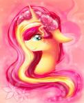 2015 abstract_background chanceyb equestria_girls equine female feral green_eyes hair horn looking_at_viewer mammal multicolored_hair my_little_pony portrait smile solo sunset_shimmer_(eg) two_tone_hair unicorn  Rating: Safe Score: 2 User: ConsciousDonkey Date: February 03, 2016