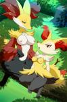 anthro barefoot braixen breasts camel_toe canine clothed clothing delphox digital_media_(artwork) duo edit female fox fur half-closed_eyes half-dressed log lonbluewolf looking_at_viewer looking_down mammal nintendo nipples nude open_mouth outside pokémon pussy sharp_teeth sitting size_difference smile teeth video_games wood   Rating: Explicit  Score: 28  User: Alfalfacentaury  Date: April 25, 2015