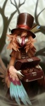 2014 ambiguous_gender anthro avian beak box brown_eyes claws clothing coat cookie creepy feather_hair feathers food hat looking_at_viewer maelice merchant mist nevrean outside pastry priley smile solo teeth wings  Rating: Safe Score: 41 User: Jugofthat Date: May 31, 2014
