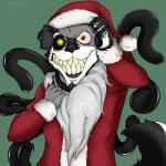 2015 anthro canine christmas clothed clothing costume dog ear_piercing festive fur glowing glowing_eyes grin hat holidays husky looking_at_viewer male mammal masamaki multicolored_eyes piercing red_eyes santa_hat simple_background smile solo stitches teeth tentacles undead zombie  Rating: Safe Score: -2 User: Masamaki Date: December 27, 2015