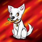 2009 bite bolt bolt_(film) brown_eyes canine carrot collar cute disney dog feral fur male mammal nude paws sitting tailzkip teeth toy white_fur   Rating: Safe  Score: 3  User: GameManiac  Date: March 02, 2015