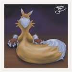 ambiguous_gender anthro canine digimon fox fur gurudj kneeling mammal pose renamon solo white_fur yellow_fur  Rating: Safe Score: 16 User: 2ch.so Date: September 08, 2012