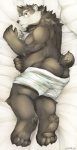 2015 anthro bear bed black_nose butt chubby cinna-tree clothed clothing eyewear fluff fur hair half-dressed looking_at_viewer looking_back lying male mammal on_bed on_side open_mouth small_ears solo topless underwear   Rating: Questionable  Score: 3  User: Balaunde  Date: February 18, 2015