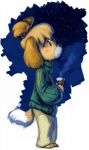 abstract_background animal_crossing anthro bell blush canine female isabelle_(animal_crossing) looking_up mammal night nintendo solo steam sweater unknown_artist video_games   Rating: Safe  Score: 9  User: Rattman  Date: June 28, 2013