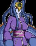 2013 anthro big_breasts black_background blue_scales blue_skin breasts canastus clothed clothing crown deity female gorgon hair japanese_clothing jewelry kimono konami lamia long_hair monster monster_girl orange_scales red_eyes reptile scales scalie simple_background slit_pupils snake solo teeth tiara vennominaga_the_deity_of_poisonous_snakes yu-gi-oh  Rating: Safe Score: 5 User: GameManiac Date: August 04, 2015
