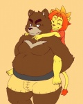 anthro bear chubby cute duo feline fur grizzly_bear hug juuichi_mikazuki lion male mammal morenatsu overweight piggyback soutaro topless zangusuu   Rating: Safe  Score: 2  User: toboe  Date: June 18, 2013