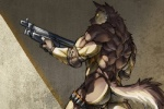 abs anthro athletic biceps butt canine dog fur gun jacketbear male mammal muscular pecs ranged_weapon rear_view shotgun simple_background solo weapon yellow_eyesRating: QuestionableScore: 30User: Rysaerio-MisoeryDate: April 15, 2015