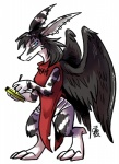big_ears black_hair blue_eyes clothing demon ear_piercing feathers female fur hair looking_at_viewer notebook pen piercing sakido_elexion slightly_damned solo stripes the-chu webcomics white_fur wings  Rating: Safe Score: 1 User: Wolfdude91 Date: February 06, 2016