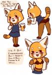 aggressive_retsuko alcohol beverage blush bra butt clothing dialogue female legwear mammal meatbot_(artist) panties pantyhose red_panda retsuko solo stockings text underwear undressing