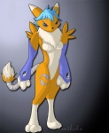 anthro bandage barefoot belly blue_eyes blue_hair breasts canine chest_tuft clothing digimon digitigrade female fox fur gloves grey_background hair keeshaba looking_at_viewer mammal plain_background rena renamon short_hair small_breasts solo standing tuft watermark white_belly white_fur yellow_fur   Rating: Safe  Score: 0  User: Pinki-Husky  Date: April 05, 2012