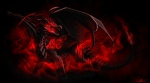2015 abstract_background ambiguous_gender angry black_scales conditional_dnp corruption_(species) dragon feral glowing glowing_eyes magic membranous_wings ratte red_eyes red_theme scales scalie solo tokoyami western_dragon wings