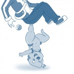 anthro blue_and_white breasts duo eyelashes faceless_male female handstand human lifting lonbluewolf male mammal monochrome nintendo nipples nude on_one_hand pokéball pokémon pussy simple_background small_breasts super_strength thick_thighs timburr video_games wide_hips