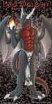 4_fingers abs anthro bad_dragon biceps black_scales claws clothed clothing digital_media_(artwork) dragon duke_(bad_dragon) fire fireball front_view horn loincloth male membranous_wings muscular narse pecs red_scales scales scalie solo standing toe_claws topless western_dragon wings yellow_eyes