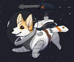 2020 ambiguous_gender black_nose brown_eyes canid canine canis digital_media_(artwork) domestic_dog feral feretta herding_dog hi_res machine mammal pastoral_dog shaded signature simple_background solo space spacesuit turret welsh_corgi whiskers