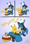 ambiguous_gender birthday blush cake canine duo food happy jackal lucario mammal nintendo pikachu pokémon siberiancrystalx video_games   Rating: Safe  Score: 11  User: SiberianCrystAlx  Date: January 17, 2014