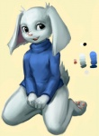 anthro black_eyes bottomless cave_story fur kneeling lagomorph mammal mimiga open_mouth pawpads scar sketchstick solo sue_sakamoto video_games white_fur   Rating: Questionable  Score: 10  User: Rubbit  Date: December 15, 2013