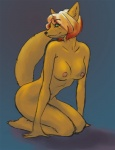 anthro breasts canine female green_eyes hair kneeling mammal nipples nude pinup pose senura solo  Rating: Questionable Score: 8 User: ippiki_ookami Date: March 13, 2012