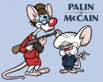 2008 ak-47 anthro assault_rifle biting_political_commentary blue_eyes brown_hair crossdressing duo ear_piercing eyewear female glasses gun hair jin_wicked john_mccain lol_comments male mammal mouse parody piercing pink_eyes pinky pinky_and_the_brain politics ranged_weapon rat rifle rodent sarah_palin the_brain weapon  Rating: Questionable Score: 8 User: msc Date: October 14, 2008