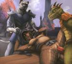 anthro argonian armor blue_eyes breasts brown_scales clitoris clothing day detailed_background elder_scrolls_online featureless_breasts feline female flat_chested fur green_scales group hi_res interspecies khajiit lizardlars lying male male/female mammal nude on_back outside penetration penis pussy raised_leg reptile scales scalie sex sky spots spotted_fur spread_legs spreading table_lotus_position the_elder_scrolls undressing vaginal vaginal_penetration video_games yellow_eyes  Rating: Explicit Score: 78 User: Ssshady Date: April 12, 2016