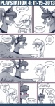 blush comic derpy_hooves_(mlp) equine female feral friendship_is_magic headphones horn horse john_joseco mammal my_little_pony pegasus pony princess_luna_(mlp) smile suit winged_unicorn wings   Rating: Safe  Score: 3  User: darknessRising  Date: August 21, 2013