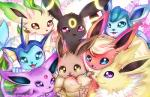 ambiguous_gender black_fur blue_eyes blue_fur brown_fur canine cute eevee eeveelution espeon flareon fur geegeet glaceon jolteon leafeon looking_at_viewer mammal nintendo orange_fur pink_eyes pokémon purple_eyes purple_fur smile tan_fur tuft umbreon vaporeon video_games white_fur yellow_eye   Rating: Safe  Score: 6  User: DeltaFlame  Date: February 15, 2015