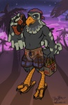 alcohol animal_crossing avery_(animal_crossing) avian beverage bird boom_box clothing food footwear looking_at_viewer male nintendo pants sandals signature sky smile solo star tree unknown_artist video_games  Rating: Safe Score: 1 User: Enthusiast Date: July 09, 2015