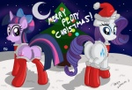 anus christmas clothing cutie_mark duo english_text equine female feral friendship_is_magic fur hair hat hi_res holidays horn looking_at_viewer mammal moon multicolored_hair my_little_pony night outside presenting purple_fur purple_hair pussy rarity_(mlp) text twilight_sparkle_(mlp) unicorn ziemniax  Rating: Explicit Score: 10 User: masterwave Date: December 30, 2012