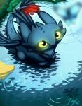 2013 arthropod blue_body butterfly chibi claws cute dragon feral glowing glowing_eyes how_to_train_your_dragon insect looking_up night_fury solo tail_fin toothless toxictoby water wings young   Rating: Safe  Score: 6  User: Toothless-chan  Date: January 16, 2014