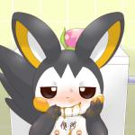 alacarte ambiguous_gender bathroom blush emolga feces feral half-closed-eyes looking_at_viewer messy nintendo nipple_piercing nipples piercing pokémon scat smile toilet video_games