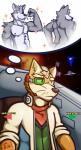 black_nose brown_fur brown_nose clothed clothing duo english_text eye_patch eyewear fox_mccloud fur green_eyes grey_fur male muscular muscular_male nintendo nipples smile space star star_fox text thought_bubble topless ventkazemaru video_games whiskers wolf_o'donnellRating: SafeScore: 4User: MaxCandoDate: October 20, 2018