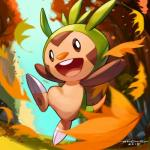 2015 2_toes ambiguous_gender archie_adiartama biped chespin claws digital_media_(artwork) feral forest grass leaves nintendo open_mouth outside plant pokemon_fan pokémon pokémon_(species) sky smile solo teeth toe_claws toes tongue tree video_games