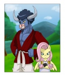 2012 anthro anthrofied blue_hair bovine cattle clothed clothing dragon_ball dragon_ball_z duo equine facial_piercing female fluttershy_(mlp) friendship_is_magic green_eyes hair hercule himanuts iron_will_(mlp) male mammal minotaur mr._satan my_little_pony nose_piercing nose_ring parody pegasus piercing pink_hair septum_piercing shirt videl wings  Rating: Safe Score: 6 User: anthroking Date: April 29, 2013