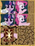 2014 absurd_res all_fours applejack_(mlp) big_ears blonde_hair blue_eyes book cave comic creepy cutie_mark dark dialogue earth_pony english_text equine eyelashes female friendship_is_magic fur glowing hair hat hi_res hooves horn horse j5a4 long_hair mammal markings multicolored_hair my_little_pony orange_fur pink_fur pink_hair pinkie_pie_(mlp) pony purple_eyes purple_fur purple_hair symbol text twilight_sparkle_(mlp) two_tone_hair unicorn  Rating: Safe Score: 0 User: 2tailedD3rpy Date: December 11, 2014