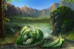 2020 4_claws absurd_res claws day detailed_background digital_media_(artwork) dragon feral full-length_portrait ghuran grass green_body green_eyes green_membrane green_scales greeny_(odisaodi) hi_res horn hydlunn leaf lying male membrane_(anatomy) membranous_wings moss nature on_back open_mouth outside partially_submerged portrait rock scales scalie sky smile solo spring teeth tongue tree water western_dragon white_body white_claws white_horn white_scales wings
