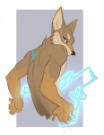 anthro brown_fur canine coyote demicoeur digital_media_(artwork) electricity fur hexagon male mammal nude simple_background solo superpowers tattoo tukamos_(character)  Rating: Safe Score: 20 User: tukamos Date: February 14, 2015