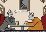 anthro brothers clothed clothing comic dialogue digital_media_(artwork) dragon english_text fin head_fin horn inflation male naughtymorg necktie overweight overweight_male restaurant sad sibling sitting suit textRating: SafeScore: 6User: WabaDate: March 20, 2018