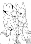 anthro black_and_white breasts chest_tuft digimon dildo duo female from_behind fur gloves lesbian monochrome nintendo pikachu pokémon pokémorph renamon s-nina sex_toy strapon tuft video_games   Rating: Explicit  Score: 15  User: Arkham_Horror  Date: March 28, 2014