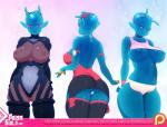 bedroom_eyes big_breasts blue_lips breasts clothed clothing doxy female goo half-closed_eyes huge_breasts humanoid multiple_angles nipples not_furry open_mouth pink_eyes smile solo suit underwear zo'dee   Rating: Questionable  Score: 25  User: fap4life  Date: May 22, 2015
