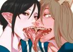 demon duo female french_kissing kissing long_tongue not_furry open_mouth saliva tongue vampire wet 松葉  Rating: Questionable Score: 5 User: Acolyte Date: March 29, 2016