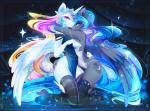 abstract_background anthro anthrofied blue_hair blue_skin breasts clothed clothing crown cutie_mark duo equine female friendship_is_magic hair half-closed_eyes horn horse hug kneeling koveliana legwear looking_at_viewer mammal multicolored_hair my_little_pony pony princess_celestia_(mlp) princess_luna_(mlp) smile thigh_highs two_tone_hair white_skin wings  Rating: Questionable Score: 20 User: EmoCat Date: November 03, 2015