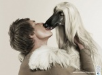 advertisement afghan_hound ambiguous_gender bestiality canine dog duo eyes_closed feral human human_on_feral interspecies kissing male male_on_feral mammal real simple_background smoking tongue unknown_artist white_background