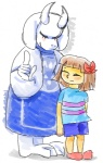 ambiguous_gender animal_ears artizluvsart blush caprine cub eyes_closed female goat horn paws protagonist_(undertale) smile toriel undertale young   Rating: Safe  Score: 4  User: Vaporeon  Date: August 17, 2013