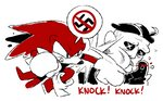 2020 angry anthro ballad-of-gilgalad blood bodily_fluids clothing duo echidna english_text gloves handwear human knuckles_the_echidna male mammal monotreme motion_lines nazi pictographics politics simple_background sonic_the_hedgehog_(series) speech_bubble swastika text video_games violence