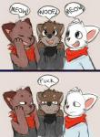 ambiguous_gender anthro canine cat clothed clothing dog english_text feline fur group mammal open_mouth simple_background smile source_request text unknown_artist  Rating: Safe Score: 8 User: Rwrs Date: November 26, 2015