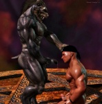 2012 3d abs anthro biceps big_muscles black_howler canine cgi digital_media_(artwork) duo erection human humanoid_penis interspecies male male/male mammal muscles nipples pecs penis were werewolf  Rating: Explicit Score: 17 User: furmann Date: December 15, 2012