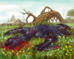 ambiguous_gender blood capcom corpse death flying_wyvern fur gore grass lying monster_hunter mountain nargacuga outside purple_fur red_fur rock scalie situ solo teeth tree video_games wyvern  Rating: Questionable Score: -6 User: GameManiac Date: January 10, 2015