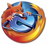ambiguous_gender black_eyes black_nose browser canine claws eating eyeliner feral firefox fox fur humor internet internet_explorer makeup mammal mozilla multicolored_fur orange_fur paws ring sharp_teeth simple_background snout solo teeth unknown_artist white_background white_fur world yellow_fur