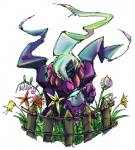 ambiguous_gender darkrai fence flower garden hair kyounoikenie legendary_pokémon nintendo pokémon psychedelic purple_body solo video_games white_hair   Rating: Safe  Score: 0  User: robyn_chaos  Date: August 12, 2010