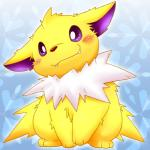 all_fours ambiguous_gender blush canine chest_tuft cute eeveelution fur jolteon kishima_wanizo looking_at_viewer mammal nintendo pokémon purple_eyes red_nose sitting solo teeth tuft video_games yellow_fur   Rating: Safe  Score: 9  User: Hydr0  Date: February 08, 2015