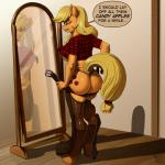 absurd_res anthro anthrofied applejack_(mlp) belt blonde_hair butt clothing english_text equine female freckles friendship_is_magic hair hi_res horse kevinsano legwear mammal my_little_pony pony reflection rubber shirt solo text thong   Rating: Questionable  Score: 42  User: Numeroth  Date: March 08, 2015